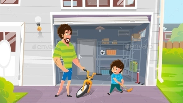 Boy with Fathers Repairing Broken Bicycle Vector - Sports/Activity Conceptual