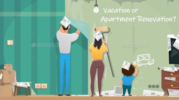 Family Repairing Apartments Room Cartoon Vector - Industries Business
