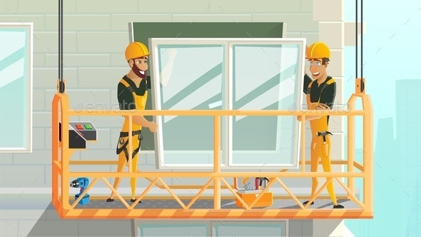 Workers Installing Window on Construction Vector - Industries Business