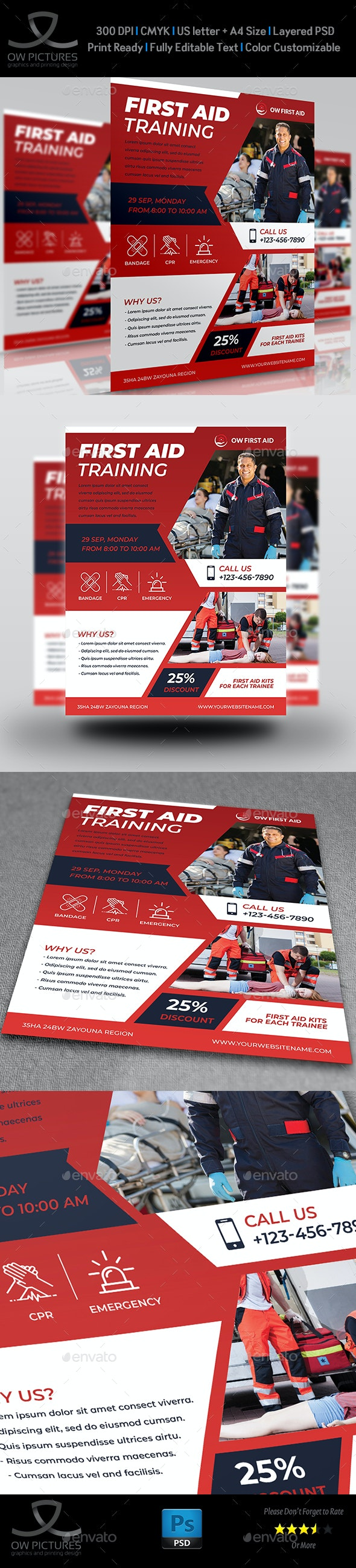 First Aid Flyer Template Vol.2 - Flyers Print Templates