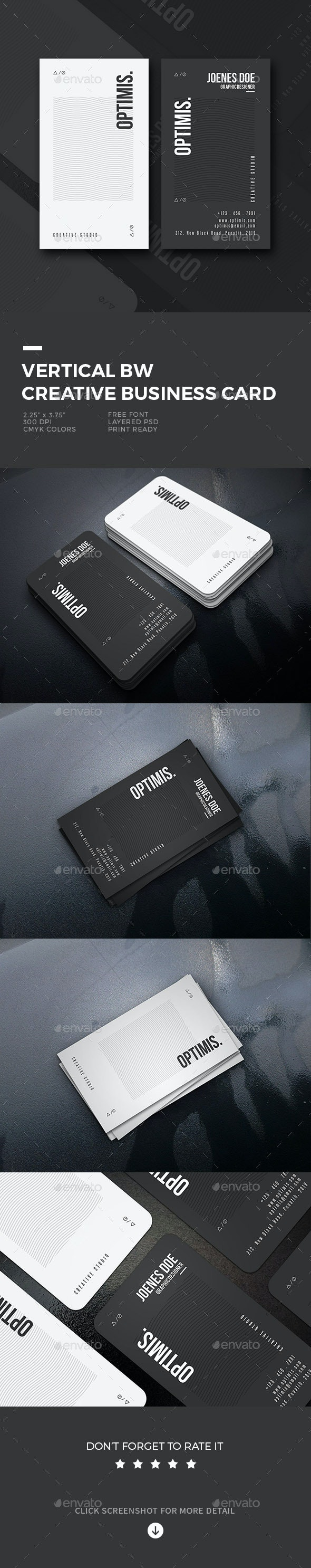 Vertical BW Creative Business Card - Business Cards Print Templates