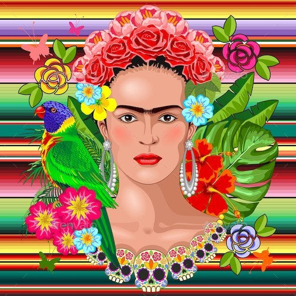 Frida Kahlo Floral Exotic Portrait on Mexican Fabric Textile Motif