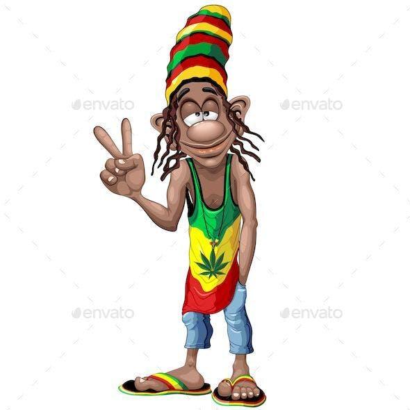 Rastafari Cool Peace Sign Cartoon Character