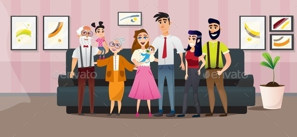 Poster Big Family Four Generations Cartoon Flat. - People Characters