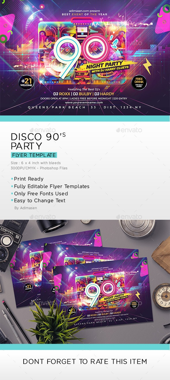 Disco 90's Party Flyer