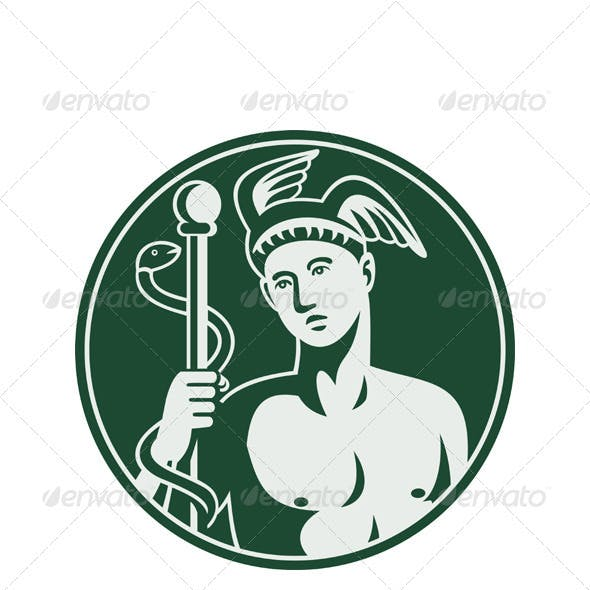 Hermes with a staff and snake