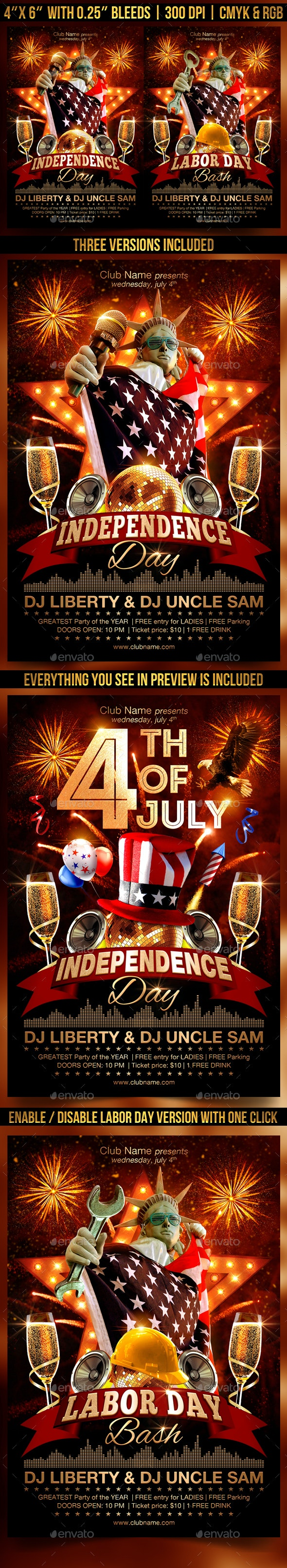 4th Of July and Labor Day Flyer Template - Clubs & Parties Events