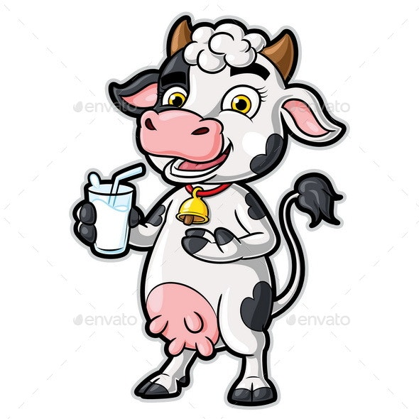 Cow Cartoon Character Holding a Glass of Milk - Animals Characters