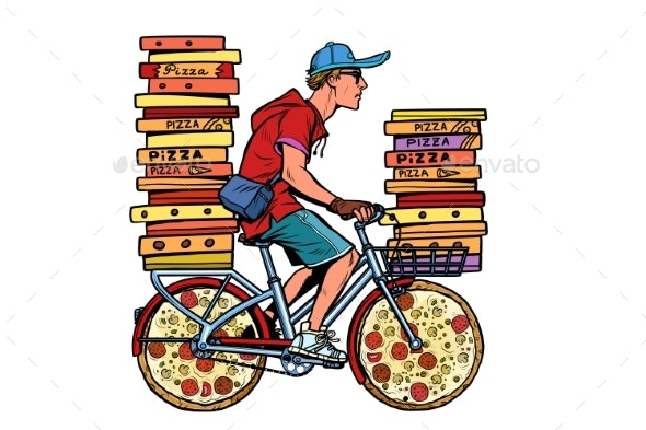 Pizza Delivery. Bike Courier Service - Food Objects