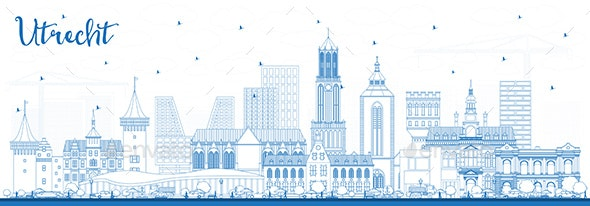 Outline Utrecht Netherlands City Skyline with Blue Buildings. - Buildings Objects