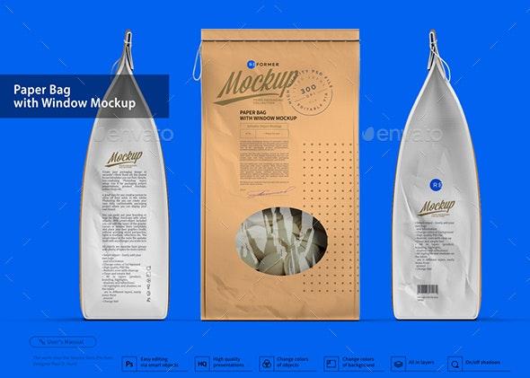 Paper Bag with Window Mockup - Product Mock-Ups Graphics