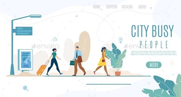 City People Life Time Management Vector Web Banner - Miscellaneous Vectors