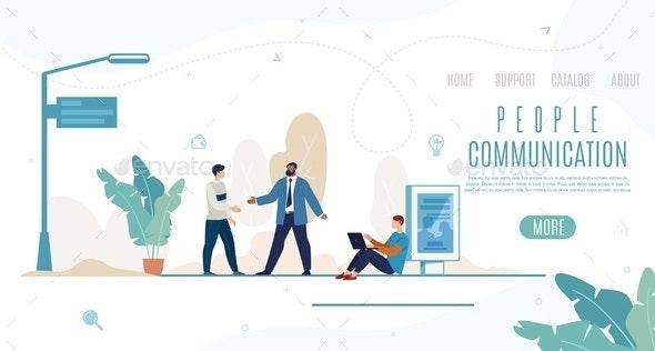 People Communication Flat Vector Web Banner - Business Conceptual