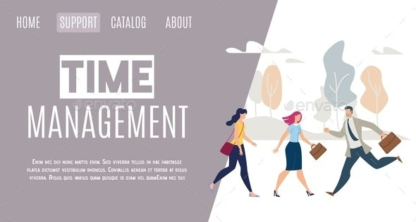 Daily Life Time Management Flat Vector Web Banner - Business Conceptual