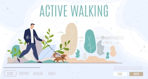 Active Leisure in City Flat Vector Web Banner - Animals Characters