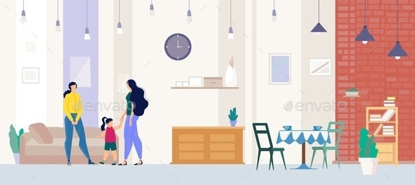 Realtor Showing Apartment to Buyer Flat Vector - People Characters