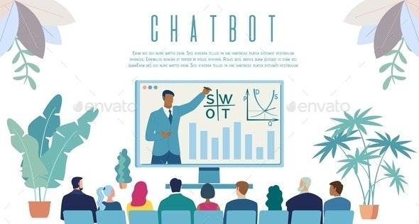 Intellectual Chatbot Service Vector Web Banner - Business Conceptual