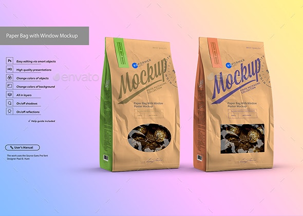 White Paper Bag with Window Mockup - Food and Drink Packaging