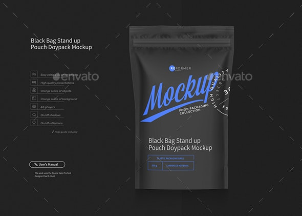 Black Bag Stand up Pouch Doypack Mockup - Product Mock-Ups Graphics