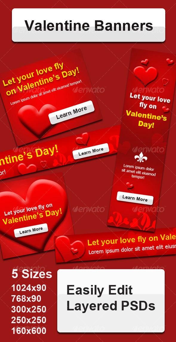 Valentine Banners - Web Elements