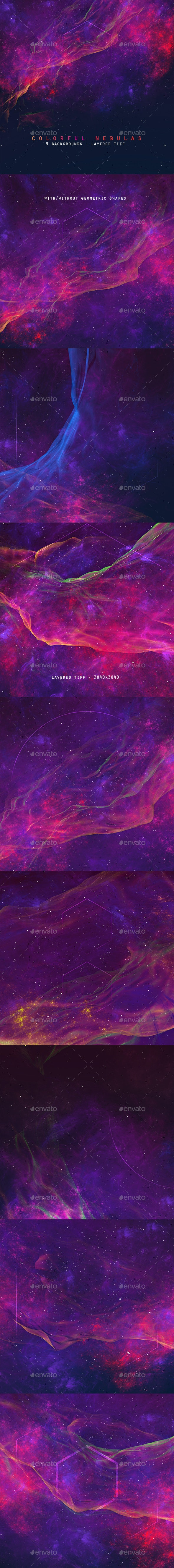 Space Nebulas Background Set