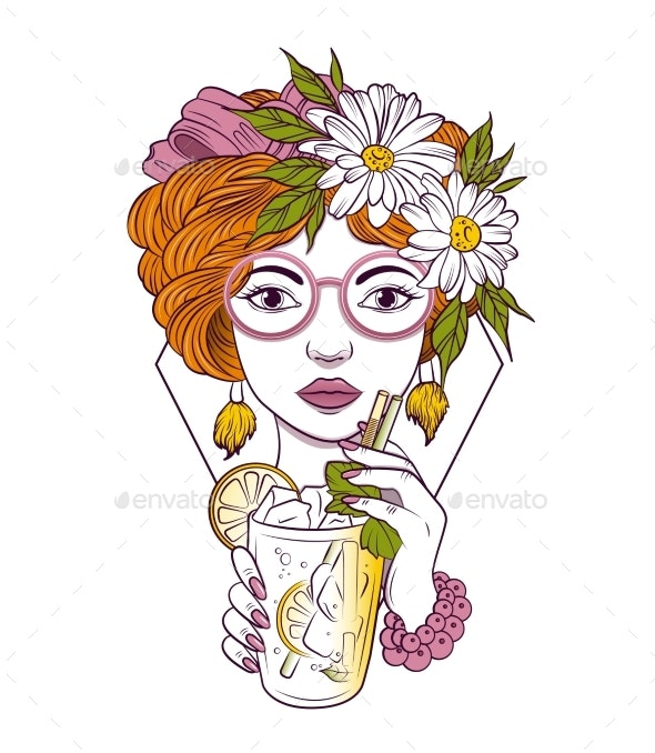 Girl in Glasses Drinks a Cocktail - Miscellaneous Vectors