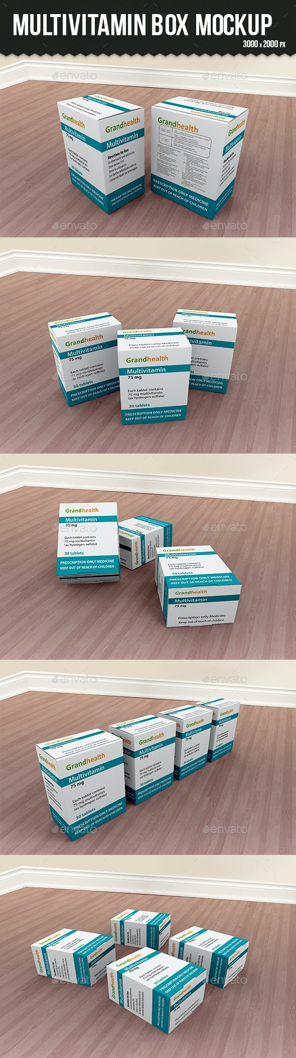 Multivitamin Box Mockup - Packaging Product Mock-Ups
