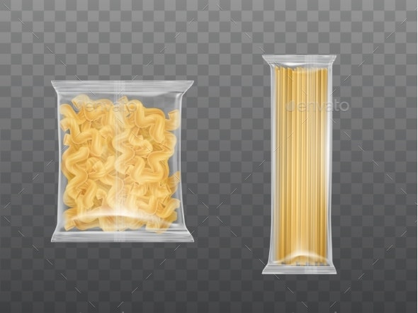 Pasta in Limpid Package Set Dry Macaroni Spaghetti - Food Objects