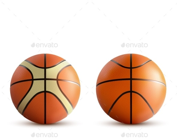 Basketball Balls Set Isolated on White Background - Man-made Objects Objects