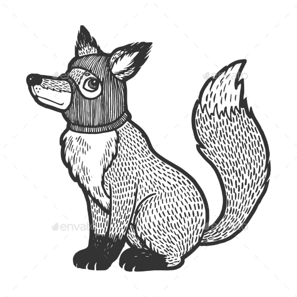 Fox in Hat Balaclava Sketch Engraving Vector - Animals Characters