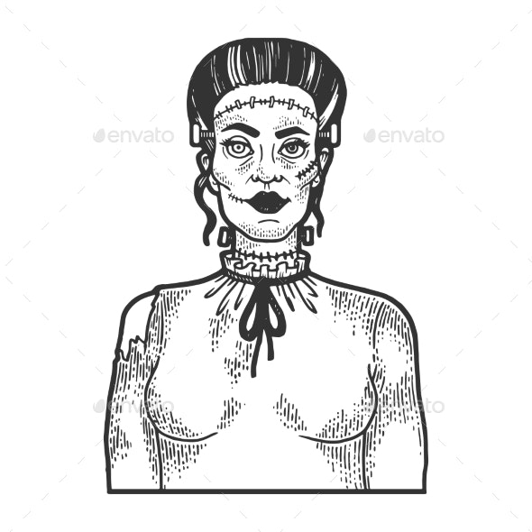 Fabulous Artificial Woman Sketch Engraving Vector - Monsters Characters