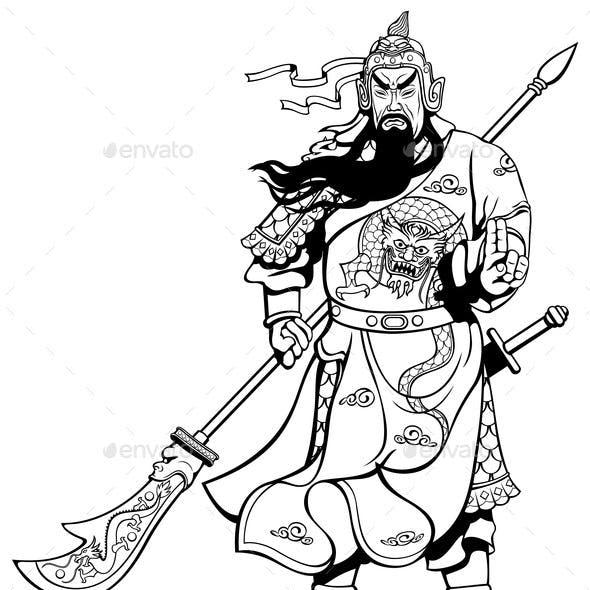 Chinese Warrior 2 Line Art