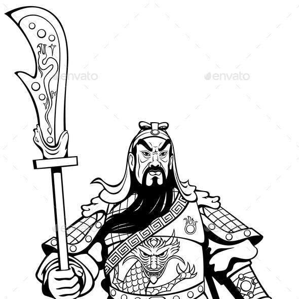 Chinese Warrior Line Art