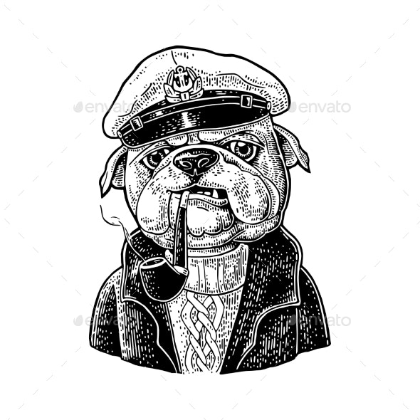 Sea Dog Smoking Pipe and Dressed in Captain Hat - Animals Characters