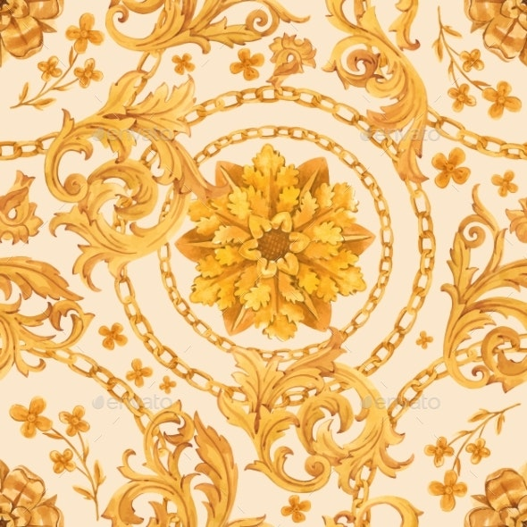 Golden Baroque Rich Luxury Vector Pattern - Backgrounds Decorative