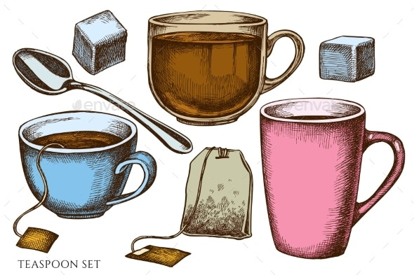 Vector Set of Hand Drawn Colored Tea - Food Objects