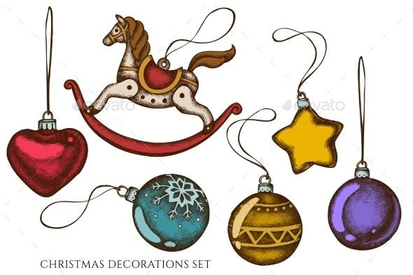 Vector Set of Hand Drawn Colored Decorations - Christmas Seasons/Holidays