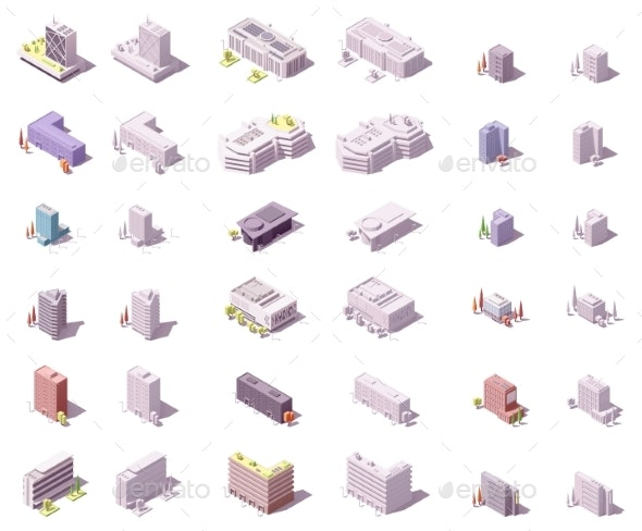 Vector Isometric City Buildings Set - Buildings Objects