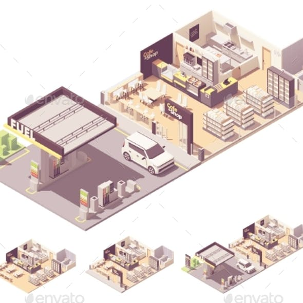 Vector Isometric Gas Station Interior