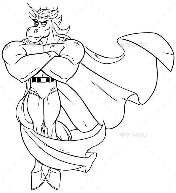 Unicorn Superhero Line Art - People Characters