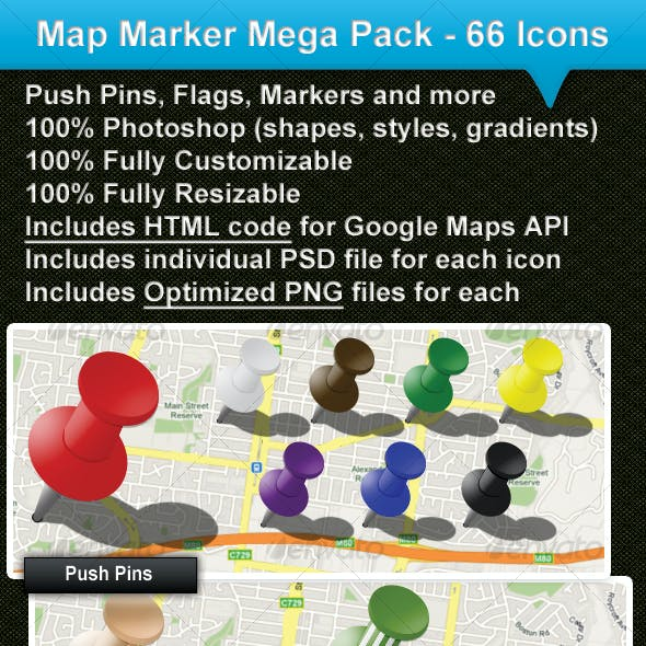 MAP MARKER MEGA PACK - 66 ICONS