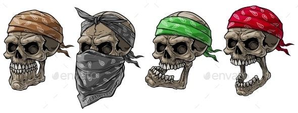 Cartoon Biker Skulls with Bandana and Scarf - Miscellaneous Characters