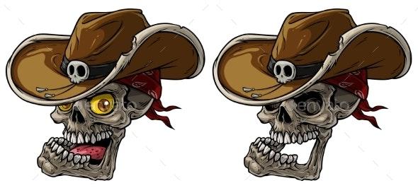 Cartoon Cowboy Skulls with Hat and Bandana - Objects Vectors