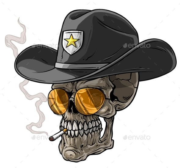 Cartoon Sheriff Skull with Hat and Cigarette - Miscellaneous Characters