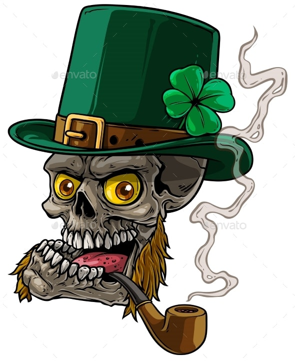 Cartoon Leprechaun Skull with Whiskers and Pipe - People Characters