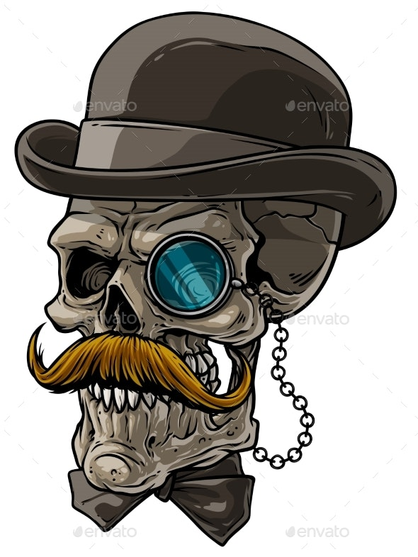 Cartoon Gentleman Skull with Black Hat and Monocle - People Characters