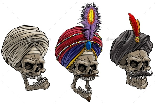 Cartoon Indian Skulls in Traditional Turban - People Characters