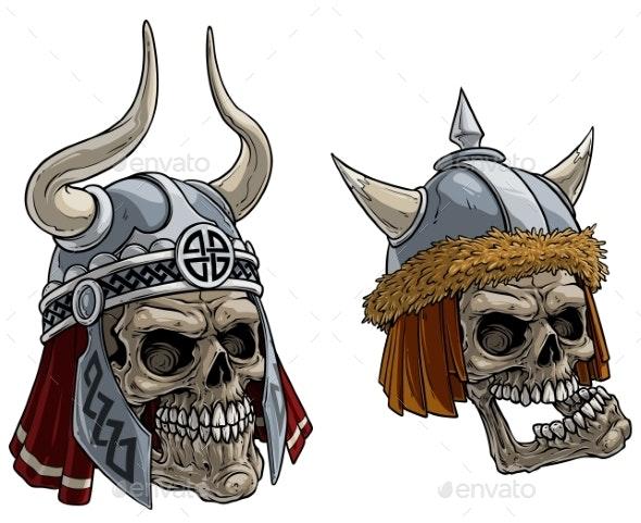 Cartoon Viking Warrior Skulls in Metal Helmet - People Characters