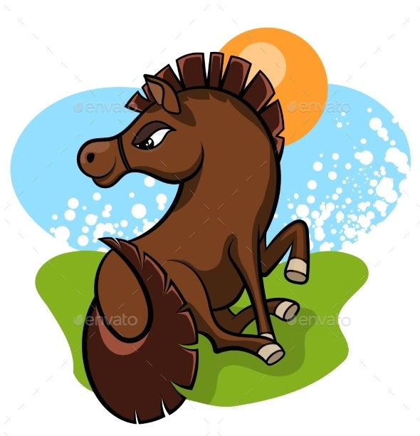 Cheerful Little Horse in the Clearing - Animals Characters