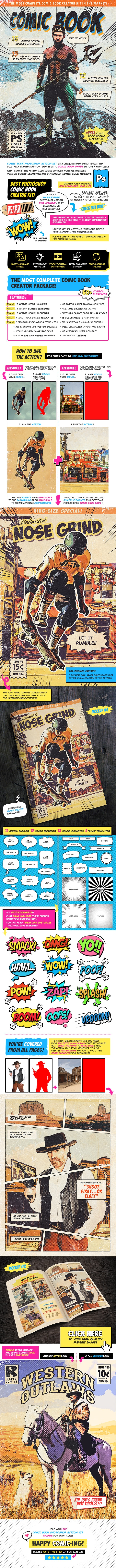 Retro Comic Book Photoshop Action Kit by IndWorks | GraphicRiver